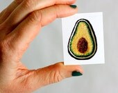Stitched Avocado Temporary Tattoo. Stocking Stuffer. Harp and Thistle Stitchery. Ready To Ship. Favors. Small Gifts. Ready to Ship.