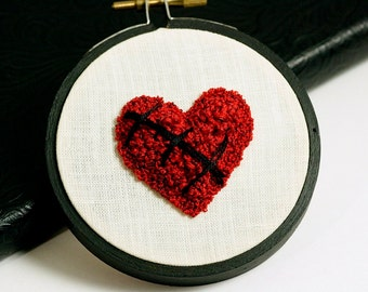 Ready to Ship! Mended. Broken Heart. Valentines Day Embroidered Fiber Art. Sculpture in Floss. Punchneedle. Garnet Red and White. Hoop Art.