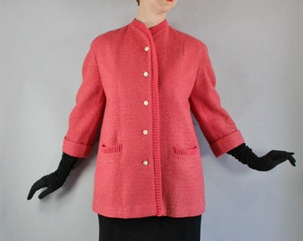 Vintage 1950s 50s Women's Coral Pink Boucle Rare Unique Fall Spring Wear to Work Wedding Guest Classic Jacket