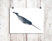 Diving Narwhal Watercolour Instant Download, Whale art, Printable Art, Digital Download, Narwhal print, Narwhal painting, Whale Unicorn