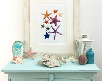 Rainbow Starfish Watercolor Print, Sea Stars Print, Watercolor starfish, Starfish print, Starfish painting, Watercolour Starfish, Beach Art