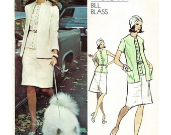 70s pattern - Vogue pattern 2854 - vintage suit pattern - jacket vest and skirt pattern by Bill Blass - size 18 - uncut ff pattern - 40 bust