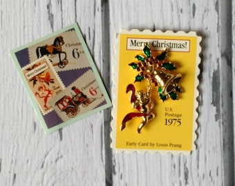 Christmas Angel Pin - Avon Smithsonian Institution - Christmas Stamp Pin - 1990s Holiday Jewelry - Original Box