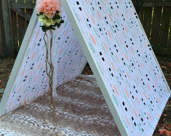 A-Frame Pup Tent Play Tent with wooden easy to assemble Frame Great for Photo Prop and Play Time