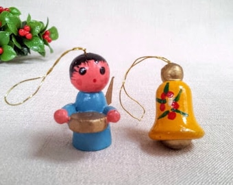 2 Small Vintage Christmas Ornaments, Angel and Bell Hand Painted Wood Miniature Doll Figurine Ornaments, Christmas Holiday Decorations