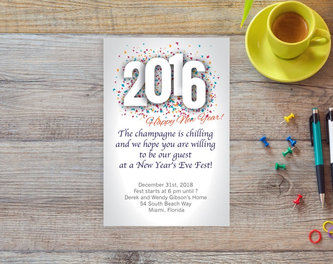 New Years Eve 2016 invitation