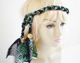 Green Black Boho Headband, Black and Green Braid Headband, Green Bohemian Headband, Boho Headband Ties, Green Gypsy Headband