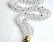 Quartz Mala 108 Count, Multi-faceted Quartz Mala Necklace charged with Reiki, Black and White Necklace