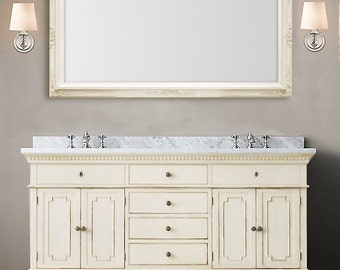 "LARGE VANITY MIRROR For Sale 56""x 32"" Antique White Baroque Bathroom Mirror Long Mirror French Country Framed Mirror Shabby Chic Home"