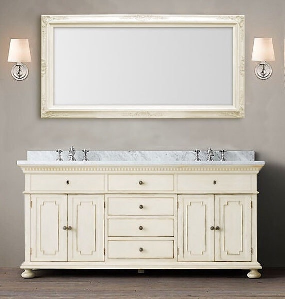LARGE VANITY MIRROR For Sale 56x 32 Antique White
