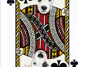 Canine Mutt  Jack of Clubs  Handmade Card