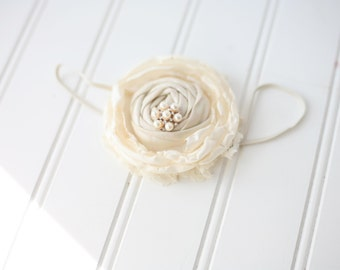 Cream of the Crop-  singed satin flower & rosette flower headband bow with lace