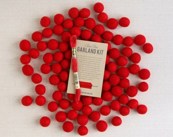 Felt Pom-Poms // Red (with optional garland kit) // Felt Balls, Christmas Garland Kit, Holiday Garland Kit, Wool Felt Balls, Holiday Beads