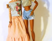Mix and match - dusty pink maxi skirt for FR16 Tonner Minifee MSD BJD 1/4 scale