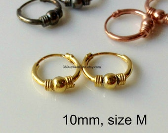 Shrapnel and cord wire hoops, men's hoop earrings, small hoop earrings, cartilage earring, helix earring, gold hoop earrings,  545a