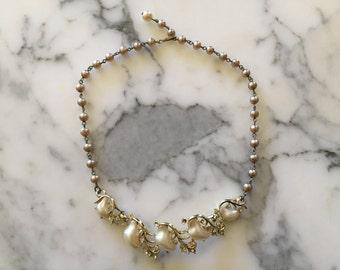 White and Gold Tone Rhinestone Necklace