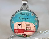 Happy Camper necklace, Happy Camper pendant, Happy Camper jewelry, camping trip, camping pendant key chain key fob