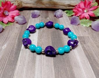 Purple and Blue Howlite Sugar Skull Stretch Bracelet - Clearance