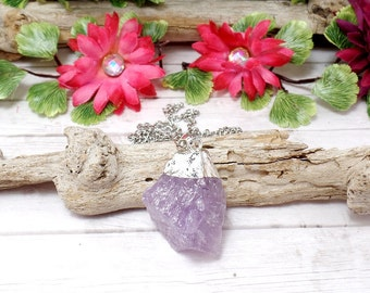 Amethyst Nugget Necklace - Rough Amethyst Necklace - Raw Gemstone Necklace - Raw Amethyst