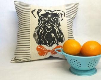 Schnauzer Print Pillow, Schnauzer Dog Printed Pillow, Decorative Pillow, Block Printed Schnauzer Pillow, Home Decor, Dog Face Pillow