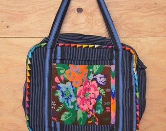 Vintage 70's Ethnic Blue Striped Embroidered Floral Boho Hippie Festival Guatemalan Purse