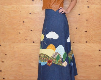 Vintage Amazing Denim Path work Prarie Skirt, Calico Floral Print Maxi Skirt Size Small