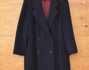 Vintage 80's Navy Blue Double Breasted Coat Warm Cozy Loose Fit SZ M