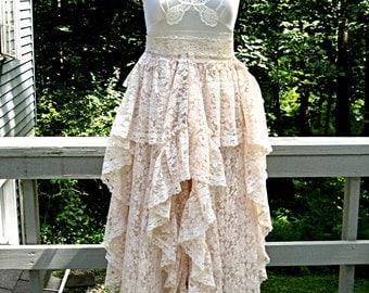 Blush pink / soft beige tattered boho gypsy hippie wedding dress, alternative bride, vintage laces, size 8-10, Bust 36 inches, Lily Whitepad