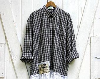 Upcycled clothing, plus size shirt, funky black and white plaid tunic, prairie chic oversized plaid shirt, boho shirt, artsy, size 3X