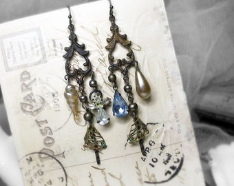 Rustic Chandelier Earrings - Assemblage Earrings - Oxidized Brass Vintage Connectors, Vintage Glass Pearl Drops, Rhinestone Angel, Salvaged