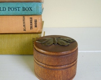 Vintage Wooden Round Box with Brass Butterfly, Trinket Box, Ring Box, Made in USA
