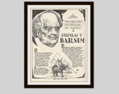 PT Barnum, Vintage Art Print, Historical Figure, Vintage Circus, Barnum and Bailey Circus, Circus Art, Black and White Illustration