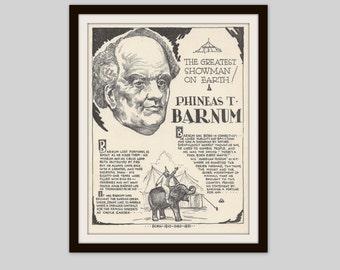 PT Barnum, Vintage Art Print, Historical Figure, Vintage Circus, Barnum and Bailey Circus, Circus Art, Black and White Illustration