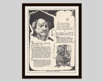 Rembrandt, Vintage Art Print, Classroom Art, Art Teacher Gift, Educational Art, Famous Artist, Art Student Gift, Artist Gift, Classic Art