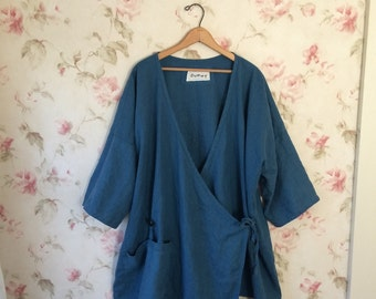 Washed Linen Wrap Jacket Asymmetric Smock Teal Blue Tunic Shirt Sweet Lagenlook Ready To Ship