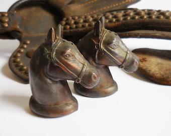 Vintage Horse head salt pepper shakers Rustic copper Aged metal Equestrian
