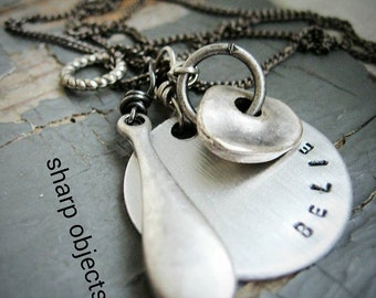 Believe - stamped motivational charm, silver metalwork, inspirational layered charm necklace, gunmetal chain