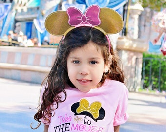 Disney Shirt, Take Me To The Mouse, Glitter, Gold, Pink Minnie, Mickey, Vacation Shirt, 1st Trip to Disney, Mouse Ear Headband