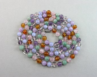 Genuine Gemstone Beads Mix, Multi Color Necklace, Amethyst +++++