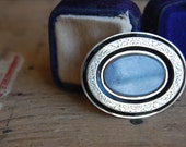 Antique Victorian gold engraved enamel mourning brooch ∙ enamel mourning jewelry
