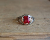 Art Deco 10K two toned simulated ruby ring ∙ Art Deco gentlemans 10K ring