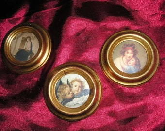 Vintage Italian Florentine Trio Gilt Wood Framed Devotional Pictures Mini Wall Art/Doll House Framed Pictures