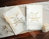 Wedding Vow books. Hand drawn Gold wedding vow books. Luxurious Wedding keepsake. Set of 2.