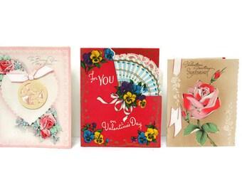 Valentine Valentines Day Set of Three (c. 1950s) Paper Ephemera Scrapbook Supplies