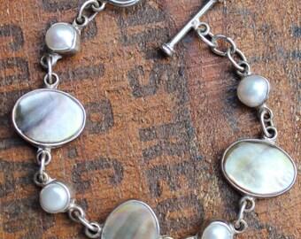 Vintage Sterling Silver Abalone & Freshwater Pearl Bracelet