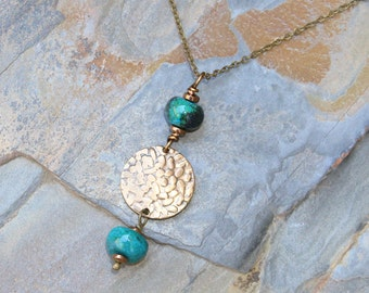 Hammered Bronze Necklace, Turquoise Necklace, Blue Green Necklace, Jasper Necklace, Bohemian Necklace, Boho Necklace, Handmade Necklace