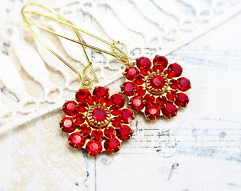 Hot Hot Red, Bright Red Vintage Swarovski,Estate Style ,Fire Red Glass Flower Jewel Rhinestone Recycled Earrings by Hollywood Hillbilly