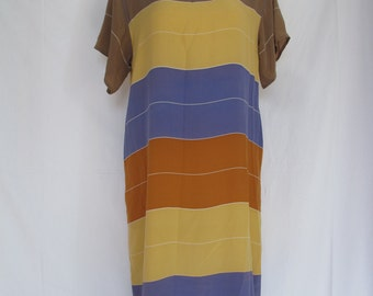 80s Flora Kung Silk Dress Color Block Crepe de Chine Mod Short Dress Vintage Saks Fifth Avenue Size 12 Purple Gold Orange Mocha