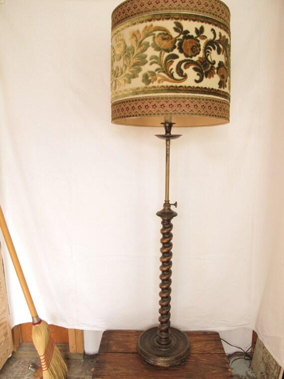 Antique Floor Lamp Barley Twist English Walnut Candlestick