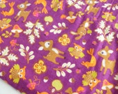 Woodland Animals Flannel Fabric Juvenile Print Destash Two Yards Yardage